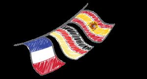 Flaggor Frankrike, Tyskland och Spanien